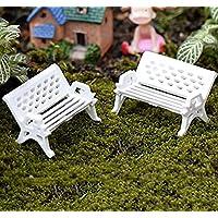 kingwin Miniatur Weiß Sitz Bench Garten Park Ornament Garten-Requisiten, plastik, weiß, 1.5 cm