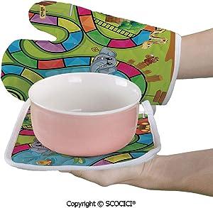 SCOCICI Baking Anti-Hot Glove Joyful Zoo Various Animals Circles Target Gorilla Giraffe Kids in Car Start Oven Microwave Mitts Pot with Square Mat