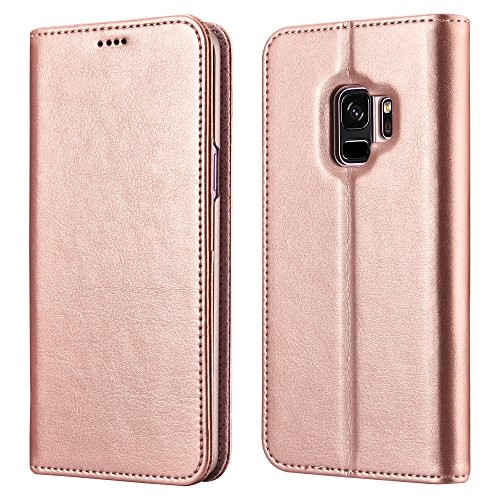 Galaxy S9 Wallet Case, XOOMZ Vegan Leather Folio Flip Cover with Kickstand and Credit Card Slots for Samsung S9 (2018) 5.8 Inch (Rose Gold))