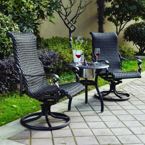 Darlee Victoria 3 Piece Resin Wicker Bistro Set - End Table With Ice Bucket Insert