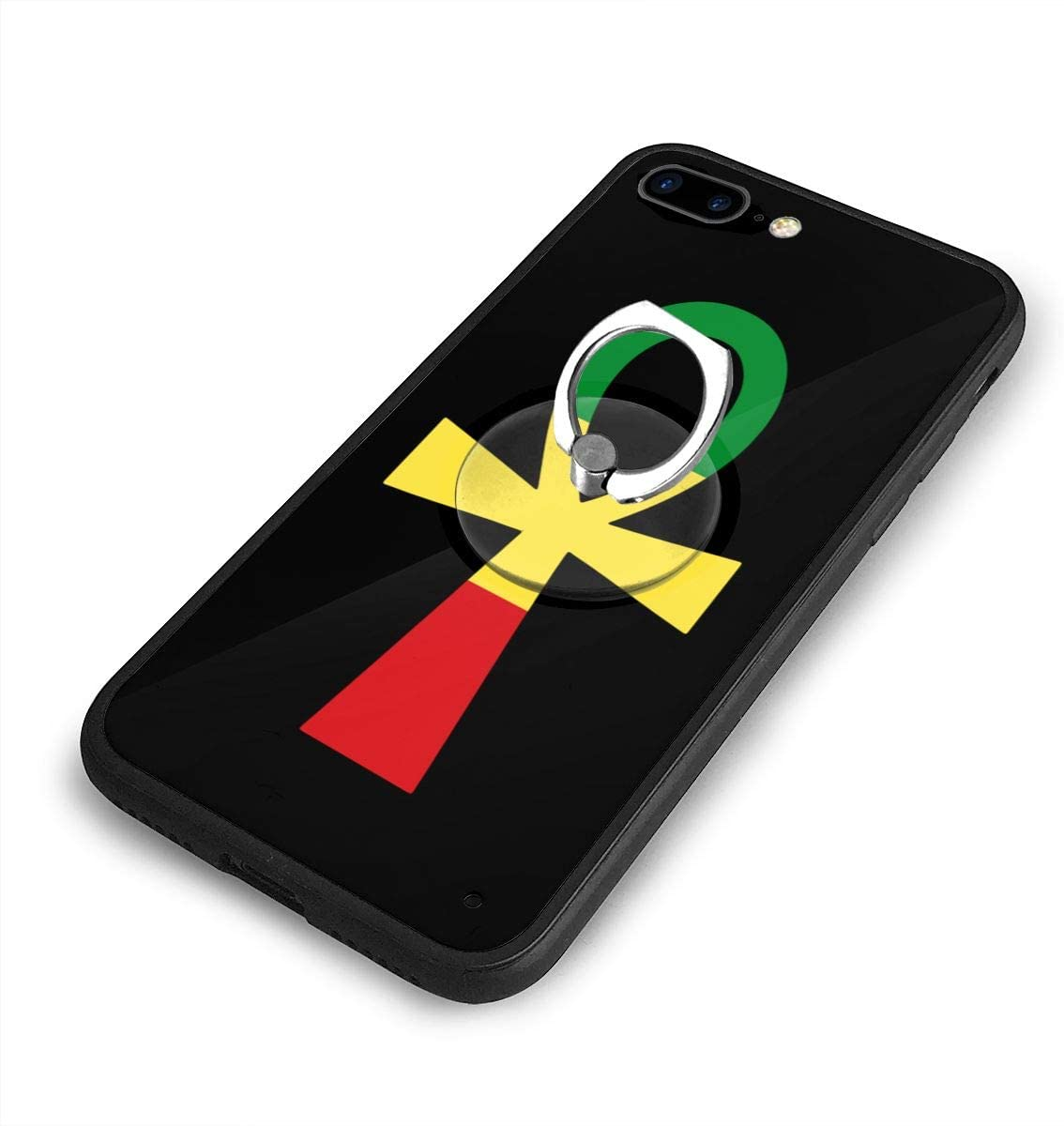 Rasta Ankh iPhone 7/8 Plus Case Anti Scratch Shock-Proof Phone Case with Circular/Ring Bracket