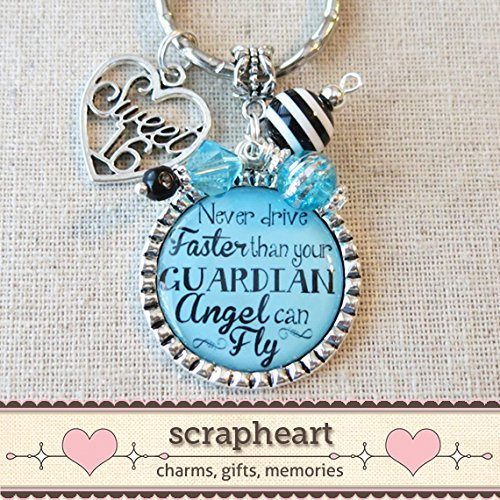 SWEET 16 Gift, TYPOGRAPHY Never Drive Faster Than Your Guardian Angel Can Fly Sweet Sixteen Keychain, 16th Birthday Gift, New Car Key Ring
