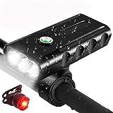 Gayrrnel 10 Pack Luces Bicicleta, 1800 lúmenes Luz Bici USB Recargable de 5200mAh con Batería Móvil IPX6 Impermeable…
