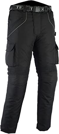 Textil Motorradhose mit Protektoren Cordura Schwarz Texpeed Alle Gr/ö/ßen Wasserdicht
