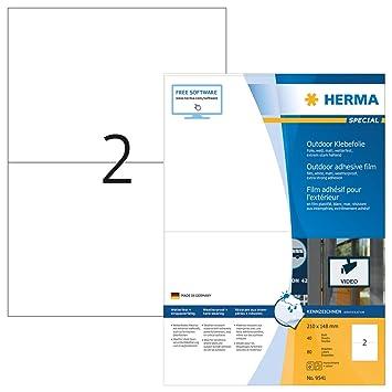 Format 210 x 148 Herma 9535 Outdoor-Folienetiketten wetterfest auf A4 Bogen