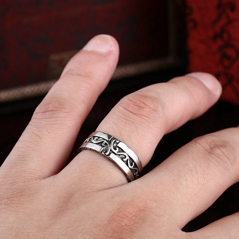 Men\'s Vintage Gothic Stainless Steel Wedding Band Rings Silver Black ...