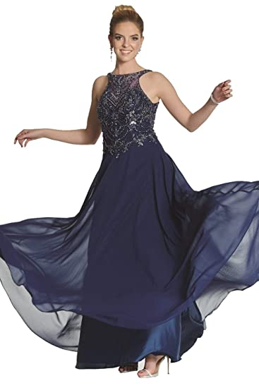 Tiffanys Illusion Prom Navy Rosalie Beaded Bodice Chiffon Dress UK 16