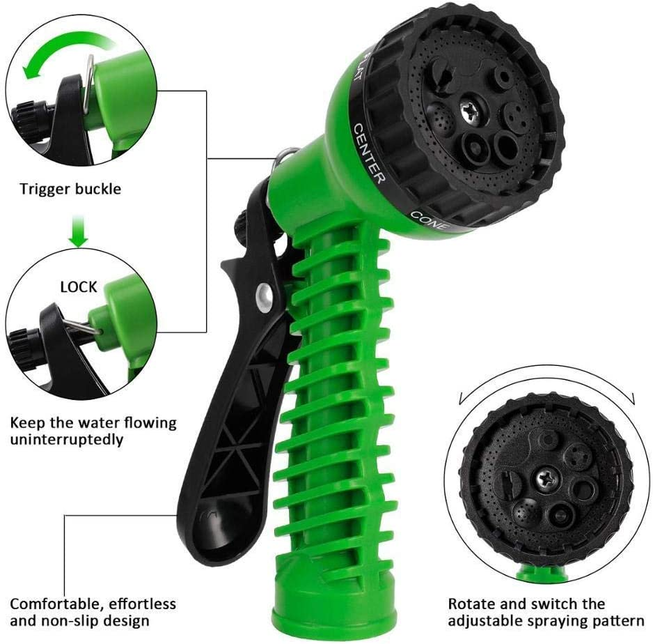 YUIOLIL Garden Hose Expandable 25Ft-200Ft Flexible Water Eu Plastic Pipe With Spray Gun To Watering Car Wash Spray,200Ft green75FT