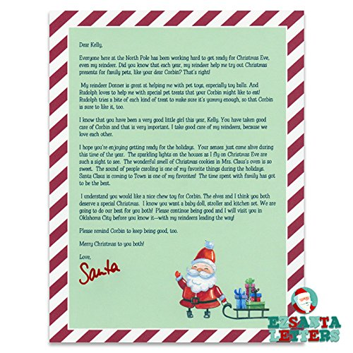 letter from santa santa letter child with a pet
