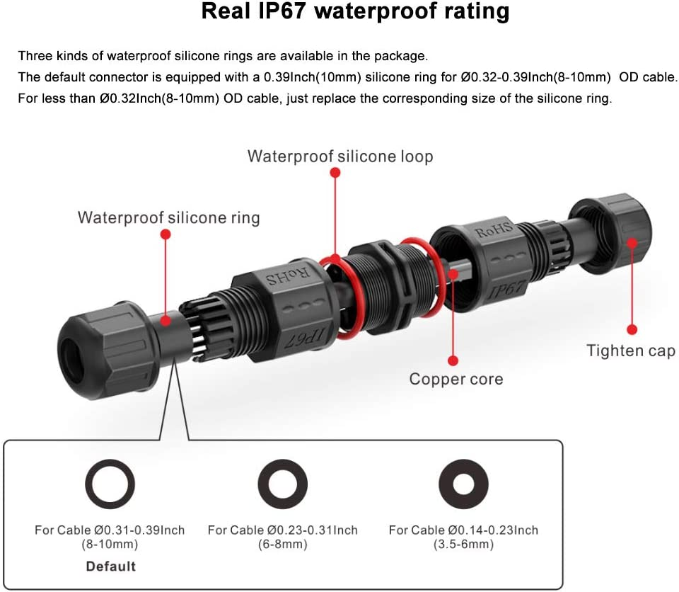 IP67//8 Waterproof Electrical Junction Box Cable Connector for Underwater or Underground Cable Range /Ø0.14-0.39Inch 2 or 3 Pole 4PCS 3.5-10mm