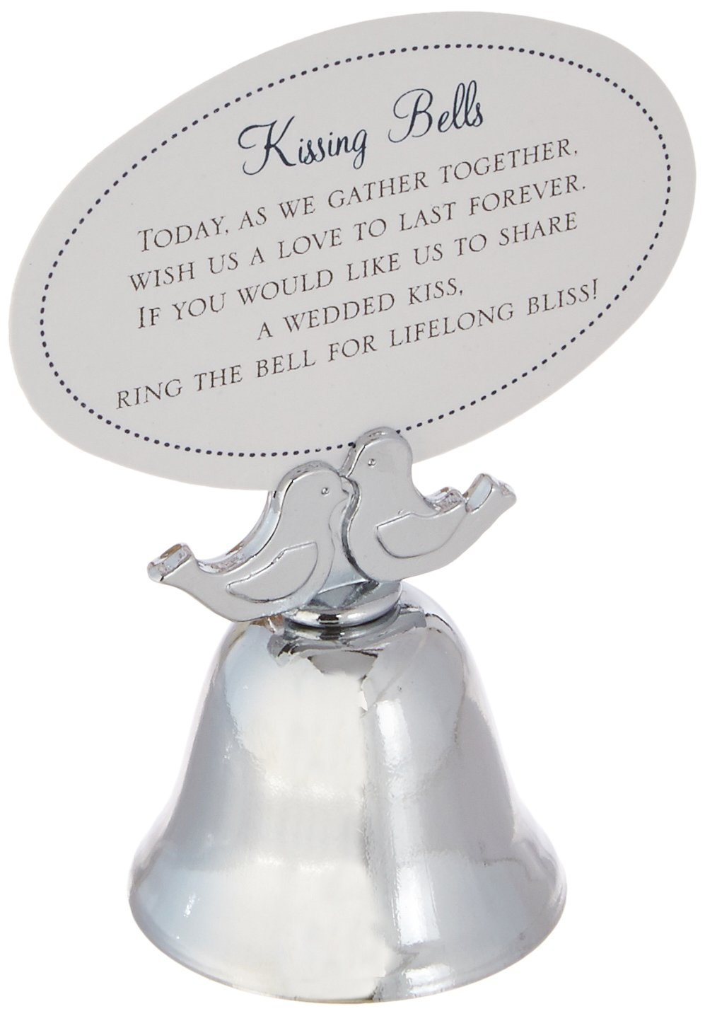 Kate Aspen ''Love Birds Kissing Bell Place Card Holder, Ringing Bells, Party Guest Favors/Gifts, Silver Finish, Set of 24