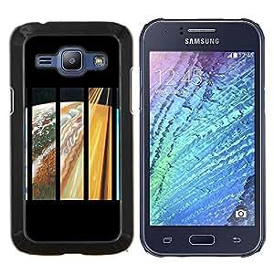 KLONGSHOP // Cubierta de piel con cierre a presión Shell trasero duro de goma Protección Caso - Psychedelic Espacio Órbitas Galaxy - Samsung Galaxy J1 J100 //