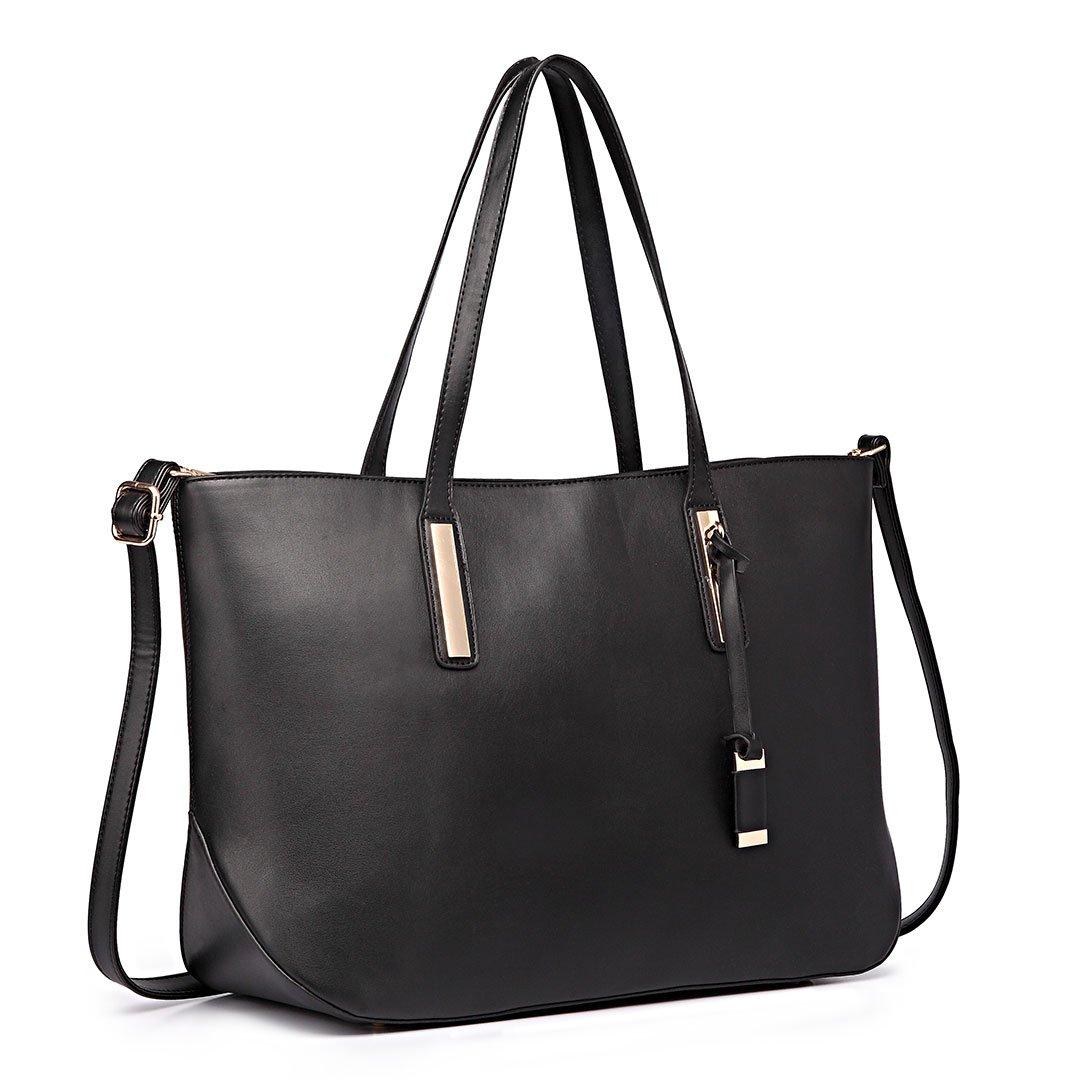 3108e90d0e8 Miss Lulu Women s Faux Leather Handle Tote Bag, Black  Amazon.co.uk  Shoes    Bags