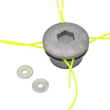 SWNKDG aluminio hilos de cortabordes la cabeza cabezal doble de hilos (hilo nailon para motor de gasolina Sense cortabordes: Amazon.es: Bricolaje y herramientas