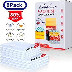LUXEAR Vacuum Storage Bags Travel Storage Bags 80% More Space Saver Bags for Clothes Blankets Comforters Pillows 8 Pieces (4 Jumbo, 4 Large) Save Spage.