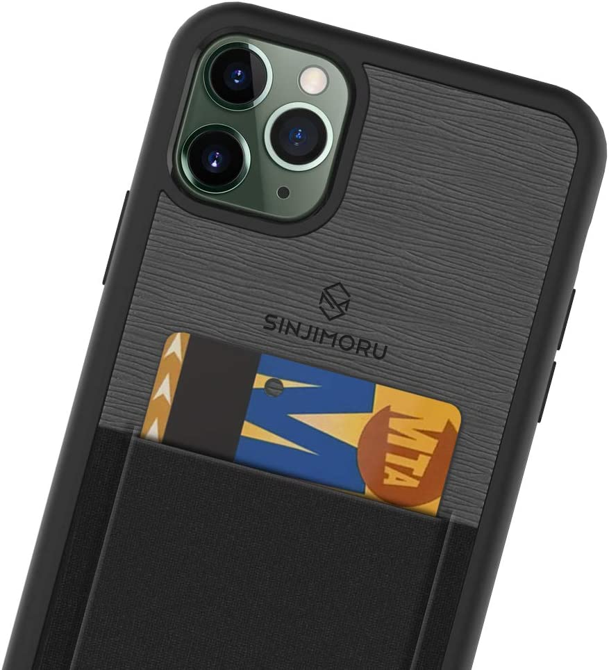 Sinjimoru iPhone 11 Pro Max Case with Slim Wallet, Protective TPU Phone Case with Credit Card Holder for Back of Phone. Sinji Pouch Case for iPhone 11 Pro Max, Black