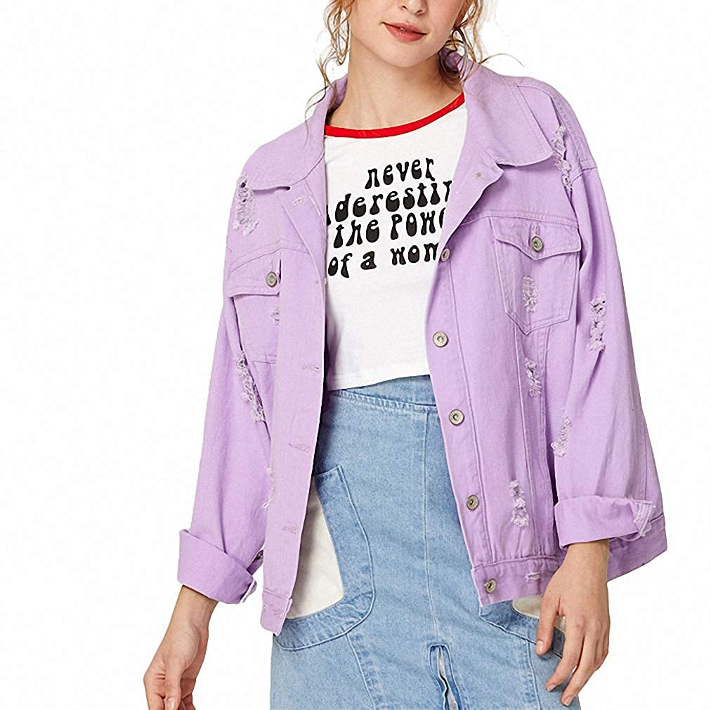Ripped Drop Shoulder Women Denim Jacket Oversize Purple Female Ladies Jacket Coat Lana&Kalf