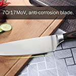 Chef Knife, Koncle 8 Inches Japanese High Carbon Stainless Steel Kitchen Knife with Sharp Blade, Ergonomic Handle, Pro Chef's Knife for Cutting, Chopping, Slicing, Carving, Mincing, Gift Box 12 Please carefully note our brand [Koncle] & our Amazon store name [Istyle Shop], any other stores selling our products are not authorized and are counterfeit with quality problems, we are not responsible! [Sharp stainless steel blade] Made out of 7CR17MOV stainless steel, which has high rust resistance. Chef knife also use of 16-18% chrome in the blade's metal composition, this can maintain a good brightness. The blade's razor sharp edge will allow you to cut your food effortlessly for a long time due to its excellent edge retention. [Multipurpose cooking knife] Versatile chef's knife is designed for chopping, mincing, slicing, and dicing with razor sharp, laser-tested, tapered knife edge is ground to form an exacting angle, to hold a sharp edge longer and ensure maximum cutting performance and durability.