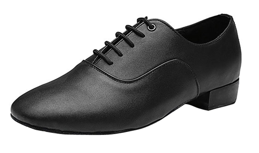 TDA Men's Classic Lace-up Black Leather Tango Ballroom Salsa Latin Dance Wedding Shoes 12 M US