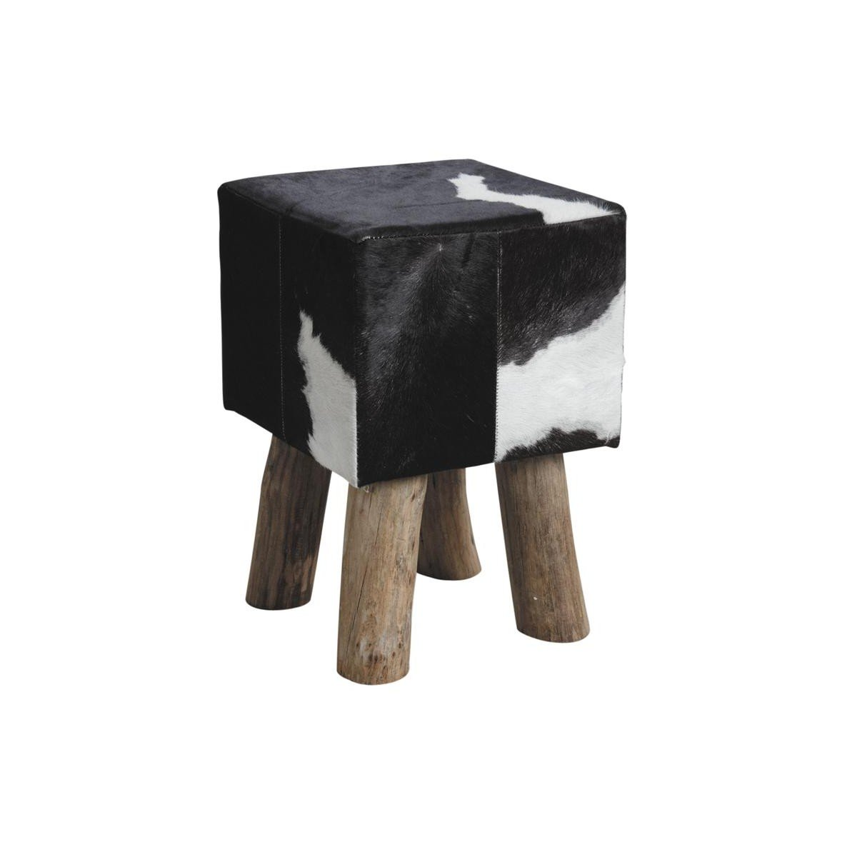 Tabouret carré en bois et peau de vache