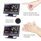 """Lomanda Digital Alarm Clock 5.5"""" Colorful Display Screen with Weather Forecast/Date/Indoor Humidity Temperature/Snooze/Charging"""
