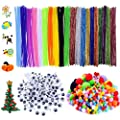 600 Pcs Pipe Cleaners Craft Set Including 200Pcs Chenille Stems, 150Pcs Self-Sticking Wiggle Googly Eyes and 250Pcs Pompoms for Craft DIY Art Supplies