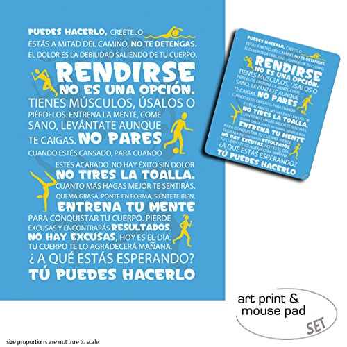 Amazon.com: Gift Set: 1 Poster Art Print (32x24 inches) + 1 Mouse Pad (9x7 inches) - Motivational, Workout, Tú Puedes Hacerlo, Blue: Kitchen & Dining
