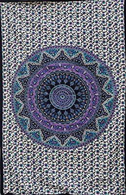 Popular Handicrafts Mandala Bohemian Psychedelic Intricate Floral Design Indian Bedspread Tapestry 54x84 Inches,(140cmsx215cms)