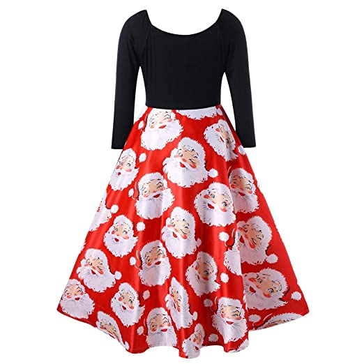 034cfc3f9612 vermers Women Dresses Clearance! Fashion Women V-Neck Ribbons Christmas  Dress Santa Claus Print