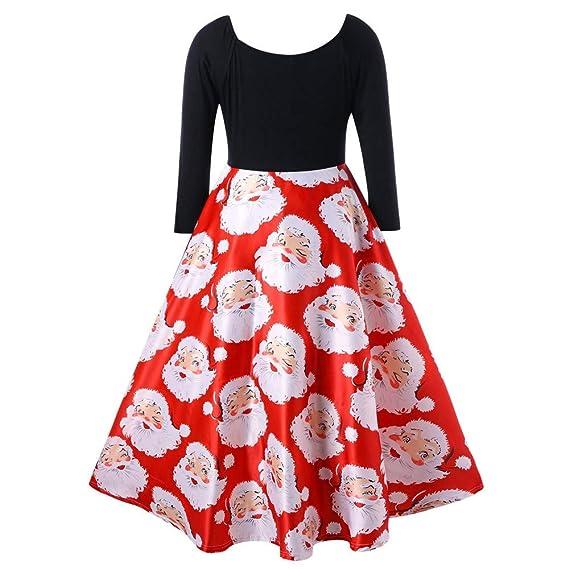 Overdose Moda Traje De Navidad Mujeres Cuello En V Cintas Feliz Navidad Vestido De Manga Larga con Estampado De Santa Claus Fiesta De Invierno Vestido Midi: ...