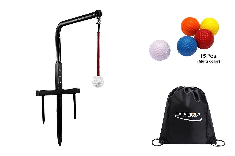 Posma st080メタルゴルフスイングトレーナークラブチャンプスインググルーバーゴルフトレーニングエイド15ピースpu練習ボールギフトセット   B07D58KDZ7