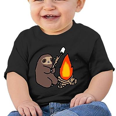 Nurlvns Campfire Sloth Toddler/Infant Short Sleeve Cotton T Shirts Black