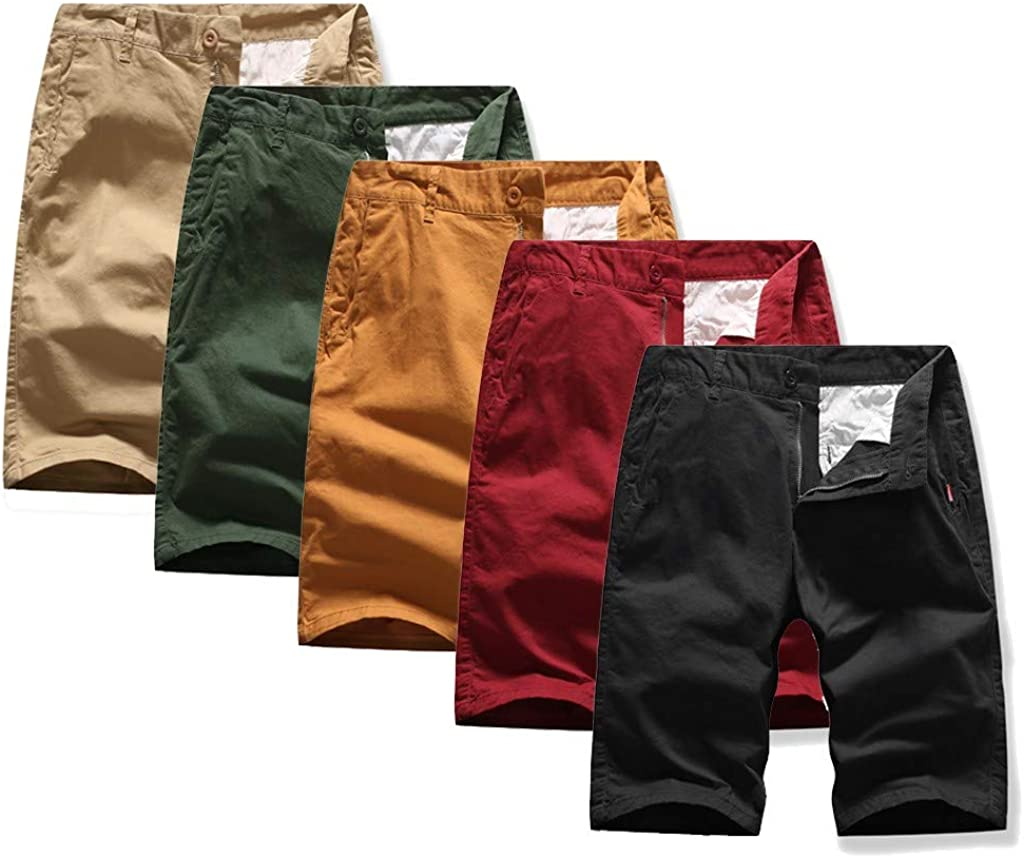 DIOMOR Mens Fashion Casual 7 Inseam Drawstring Cargo Shorts Slim Fit Pure Color Walk Trunks Casual Comfy Board Pants