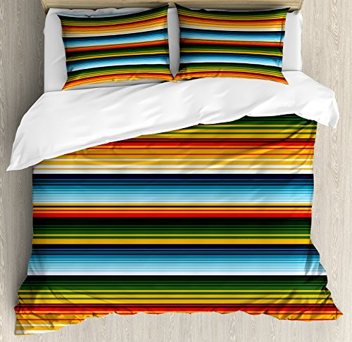 Lunarable Striped Duvet Cover Set King Size, Mexican Inspirations in Hand Made Horizontal Lines with Woven Ornamental Style, Decorative 3 Piece Bedding Set with 2 Pillow Shams, - Rug Inspirations Multi Lines