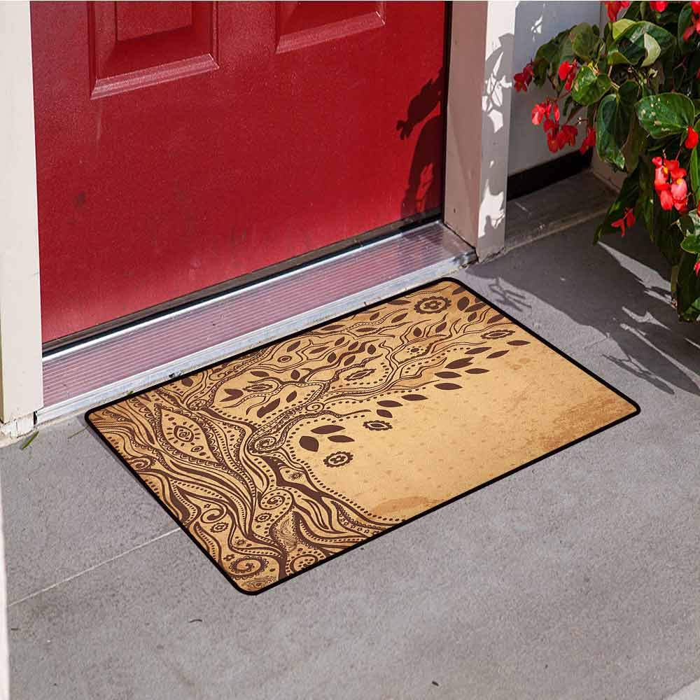 RelaxBear Tree of Life Front Door mat Carpet Unique Ethnic Tree with Polka Dots on Background and Inner Eye Motifs Native Machine Washable Door mat W23.6 x L35.4 Inch Cream Brown by RelaxBear