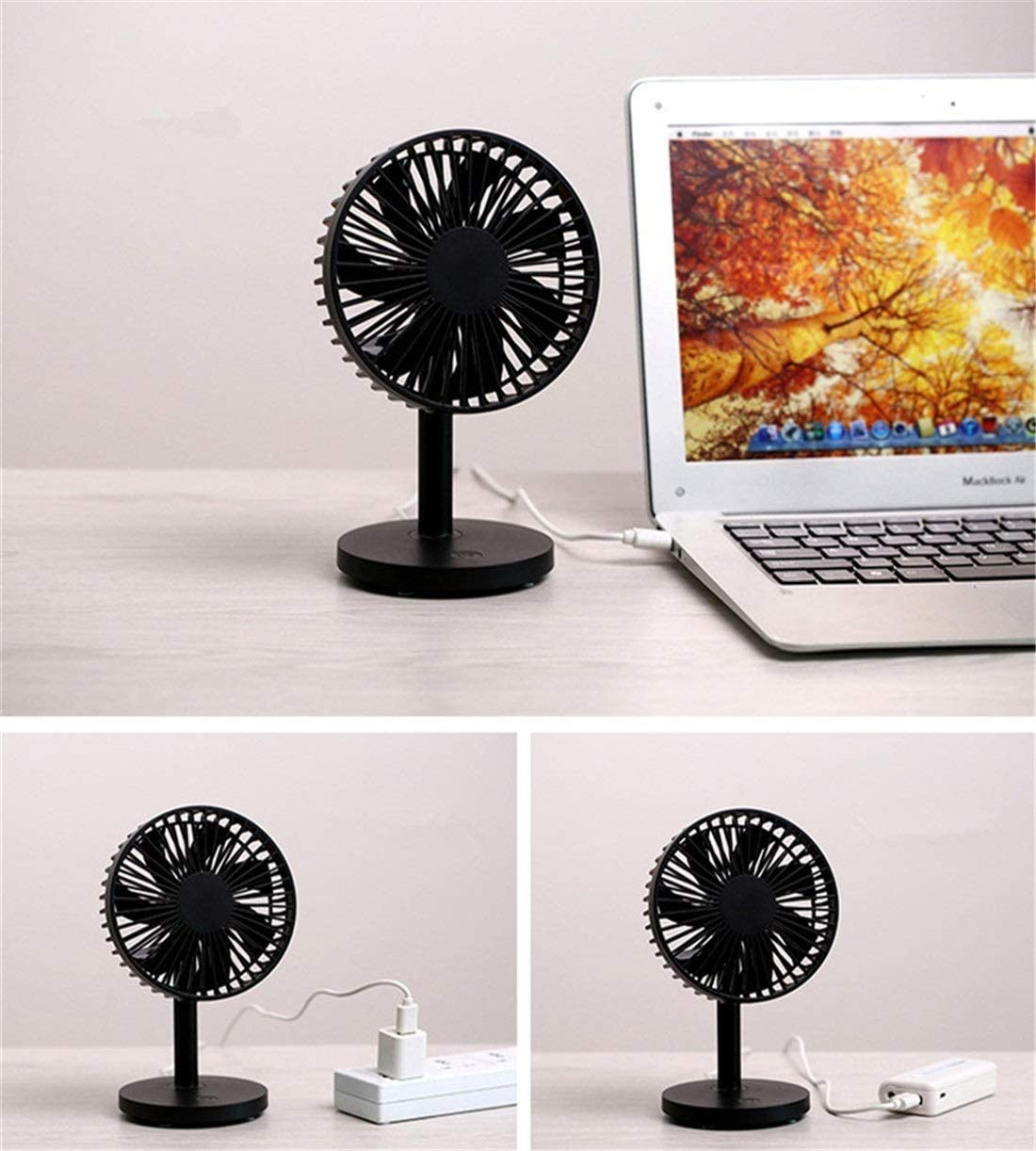 TYUIO Desk Fan 360/° Vertically Blue Color Mini USB Fan Quiet Operation and Strong Airflow