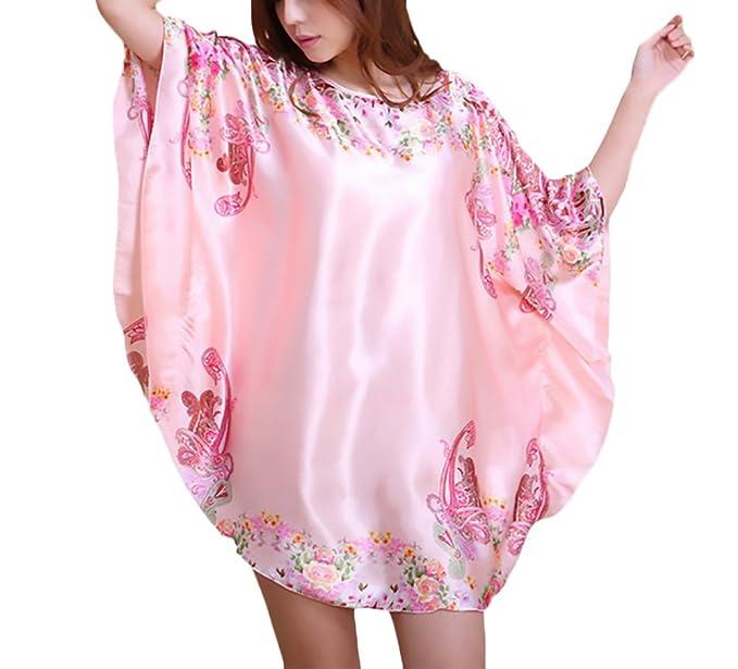 Lannister Fashion Mujer Camisones Elegantes Vintage Sleepwear Pijama Impresión Manga Corta Manga De Murciélago Cuello Redondo
