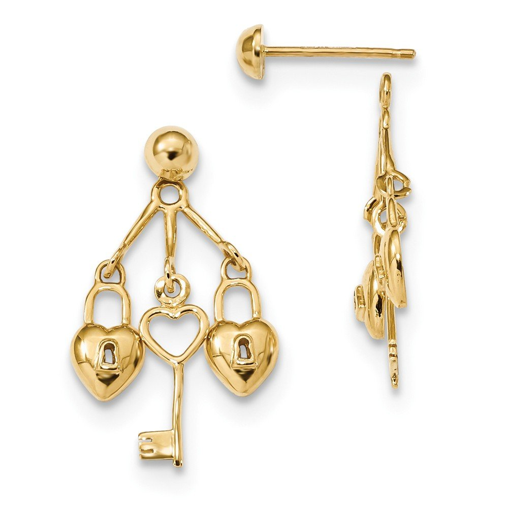 14k Polished Hearts & Key Dangle Jackets with Half Ball Stud Earrings by Unknown