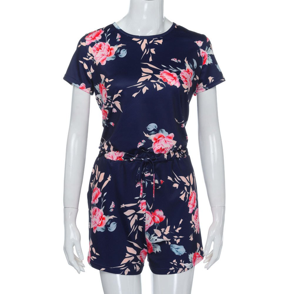 Jumpsuits for Women Floral Short Sleeve Pocket Beachwear Romper Jumpsuit Bodysuit (S, Navy) by Chanyuhui (Image #4)