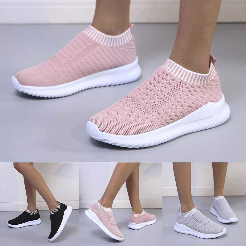 Yeyamei Walking Shoes for Women Slip Ons,2020 Mesh No Laces Sneakers Classic Platform Comfortable Casual Shoes