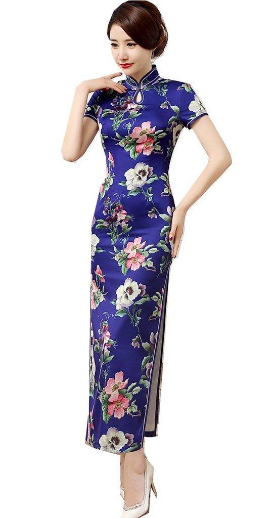 Shanghai Story Women's Cheongsam Dress Keyhole Long Chinese Qipao Dress 6 Blue