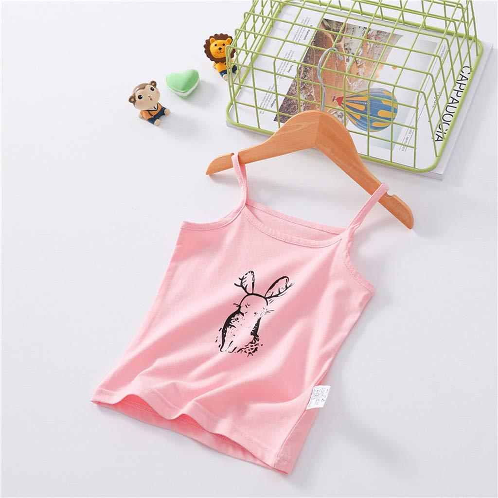 Conquro Sling de beb/é Color s/ólido Blusa sin Mangas con Estampado de Conejo sin Mangas para ni/ñas Camisa con Cuatro Colores Opcionales 100/% Algodon de Primera Calidad Ropa Basica Salvaje