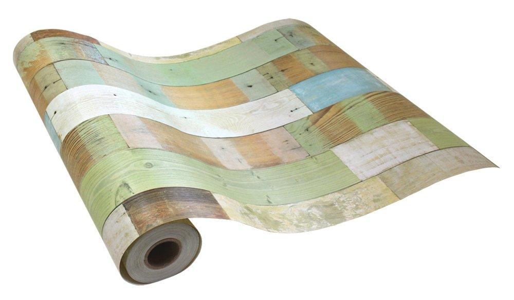 はがせるシール壁紙 カフェ風 50cm幅 のりつき壁紙 Hyundae Sheet 木目 ウッド デザイン (15mパック+道具付きセット, 3●HWN-22318 オーガニックブラウン) B072Z7RN92 15mパック+道具付きセット|HWN-22318 オーガニックブラウン