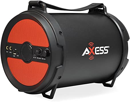 """Axess Red Portable Indoor Outdoor Bluetooth Cylinder 2.1 Speaker 6/"""" Subwoofer"""