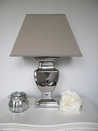 Tischleuchte Tisch Lampe Leuchte 45 cm silber / Schirm grau beige ...