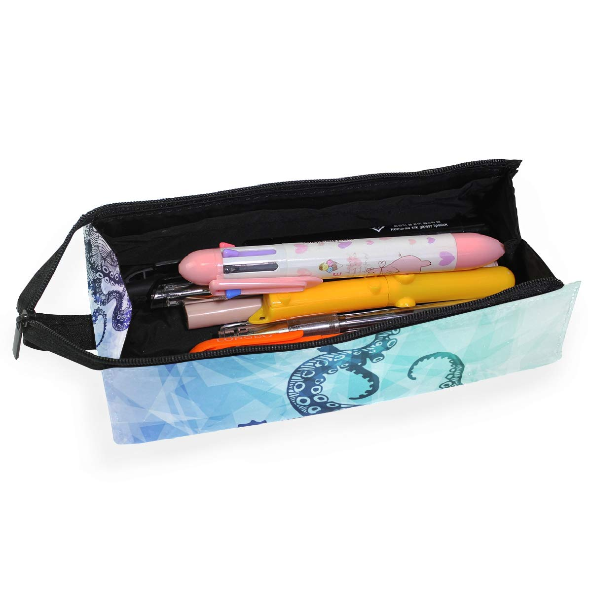 My Little Nest Eyeglass Sunglasses Holder Pouch Bag Abstract Modern Octopus Multi Function Zipper Pen Case Pencil Bag Organizer