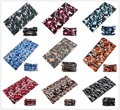 SmilerSmile 9pcs Assorted Seamless Outdoor Sport Bandanna Headwrap Scarf Wrap, 12 in 1 High Elastic Magic Headband & Collars Muffler Scarf Face Mask with UV Resistance, (Snow Camo)