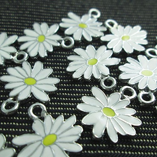 (Np Supplies 12 Little White Yellow Daisy Flower Charms Enamel Charm Pendant (NS298))