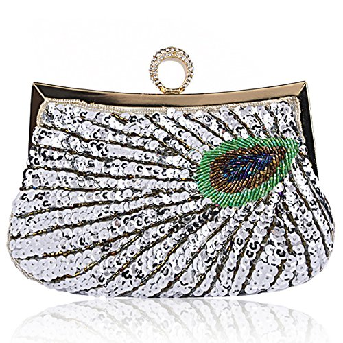 Night Beaded Ladies Party Peacock Banquet Sparkling Wife Women's Bags Bag Evening Handmade For Sequins Chain Crossbodybag Silver Wristlets Clutches HqIHaw