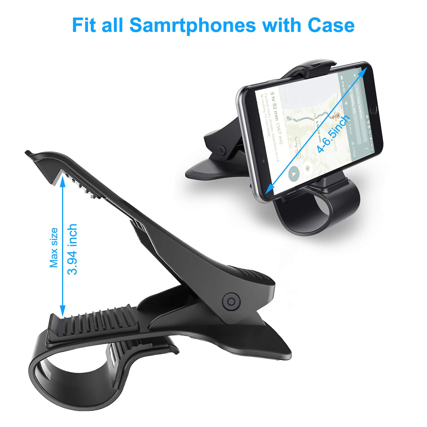 Phone Holder for Car Hzrfun Cell Phone Holder for Car Dashboard Clip Non-Slip Durable Compatible with iPhone Xs Max//XR//XS//X//8 Plus//8//7 Plus//7 Samsung Galaxy S10//S9//S8 and More